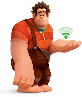 Disneys Ralph with a wifi signal over open hand