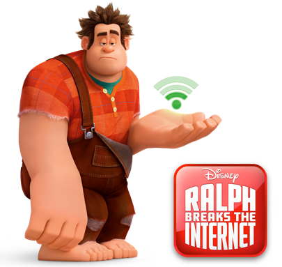 Disneys Ralph with a wifi signal over open hand, with movie logo included